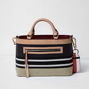 Black and tan woven detail tote bag