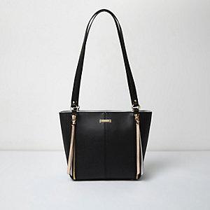 Black long handle zip tote bag
