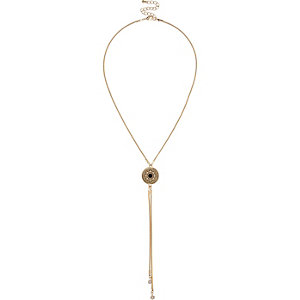 Gold tone filagree pendant drop necklace