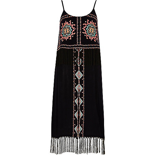 Navy blue embroidered fringe beach dress