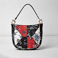 Black floral print slouch bag