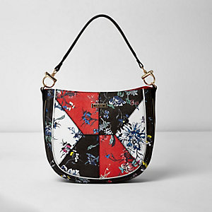 Black floral print slouch bag