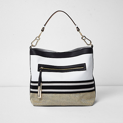 White stripe woven slouch tote bag