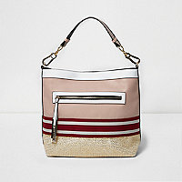 Pink metallic woven slouch tote bag
