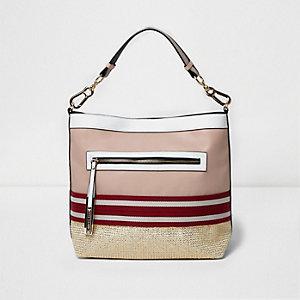 Roze handtas met geweven metallic detail