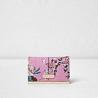 Pink floral print card holder