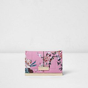 Pinkes Kartenetui mit Blumenmuster