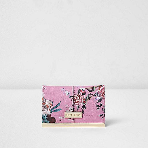 Porte-cartes rose à fleurs