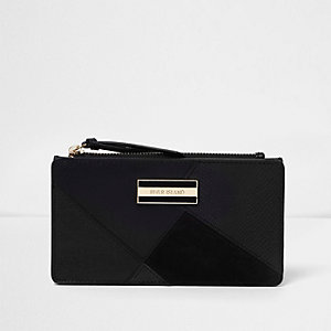Black mixed texture fold out purse