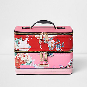 Pink and red floral print vanity case