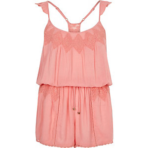 Pink lace insert playsuit