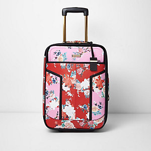 Pink and red floral print suitcase