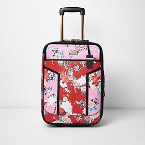 Roze met rode cabinekoffer met bloemenprint