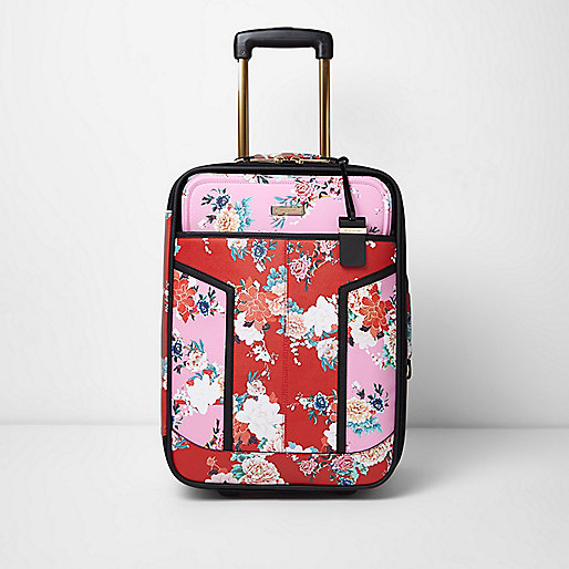 Pink and red floral print cabin suitcase