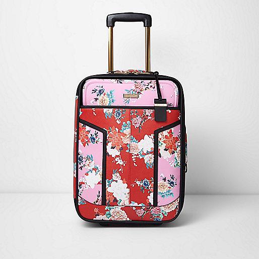 Valise de cabine à fleurs rouge et rose