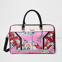 Pink and red floral print weekend bag