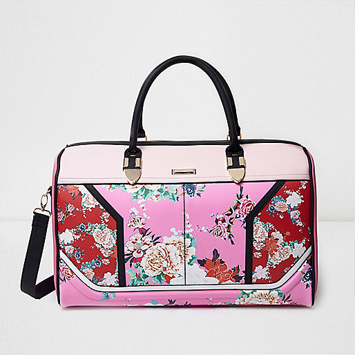 Pink and red floral print weekend bag