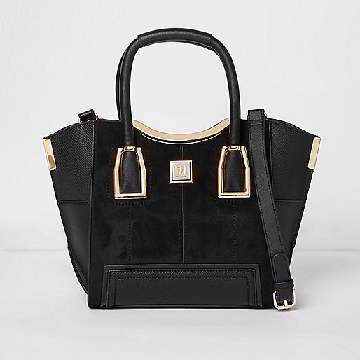 Black mini winged tote bag