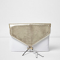 Silver and white envelope clutch bag