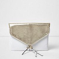 Pochette enveloppe blanche et dorée