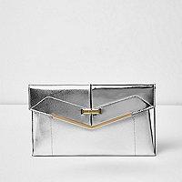Silver envelope clutch bag