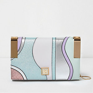 Purple swirl hinge clutch bag