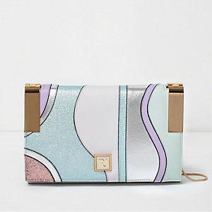 Purple swirl hinge clutch bag