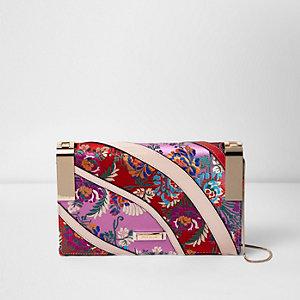 Pink floral print hinge clutch bag