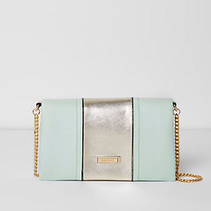 Light green foldover clutch bag