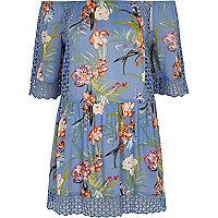 Blue bardot beach dress