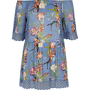 Blue bardot beach dress