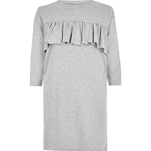 T-shirt oversize gris à empiècement et volant