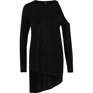 Black one shoulder asymmetric hem knit sweater