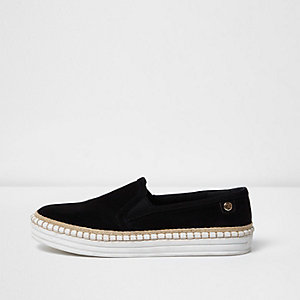 Black slip on espadrille platform trainers