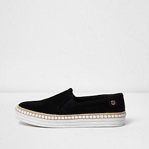 Zwarte slip-on espadrille-sneakers met platte zool