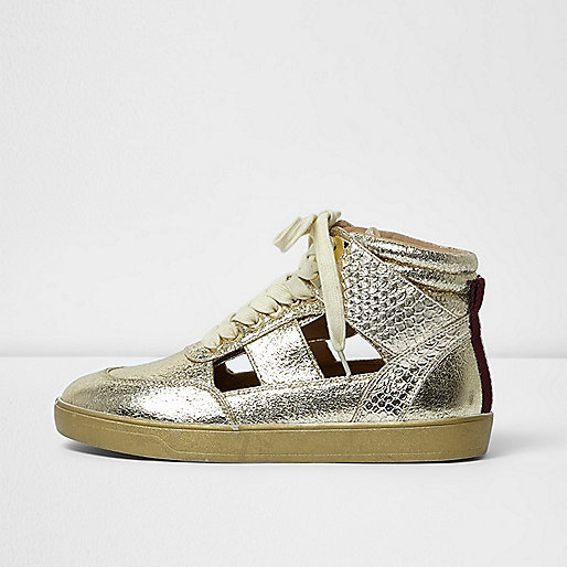 Gold cut out hi top trainers