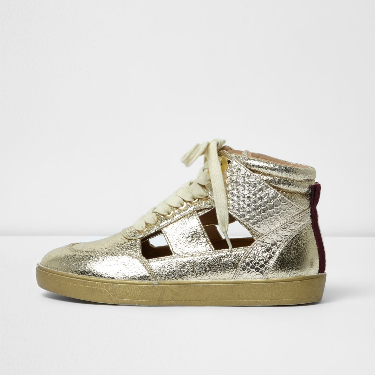Gold cut out hi top sneakers