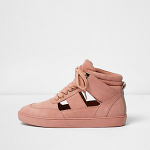 Pink cut out hi top trainers
