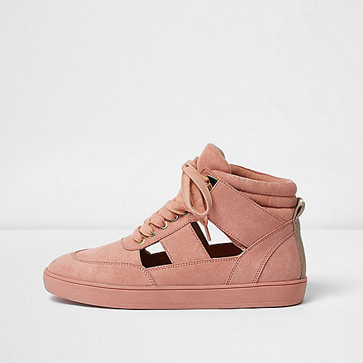 Pink cut out hi top sneakers