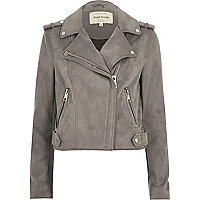 Light grey faux suede scuba biker jacket