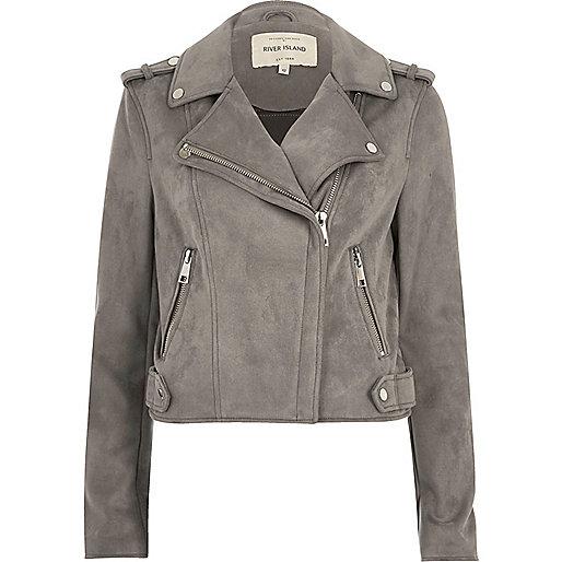 Light grey faux suede scuba biker jacket