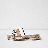 Nude panel rhinestone espadrille sliders