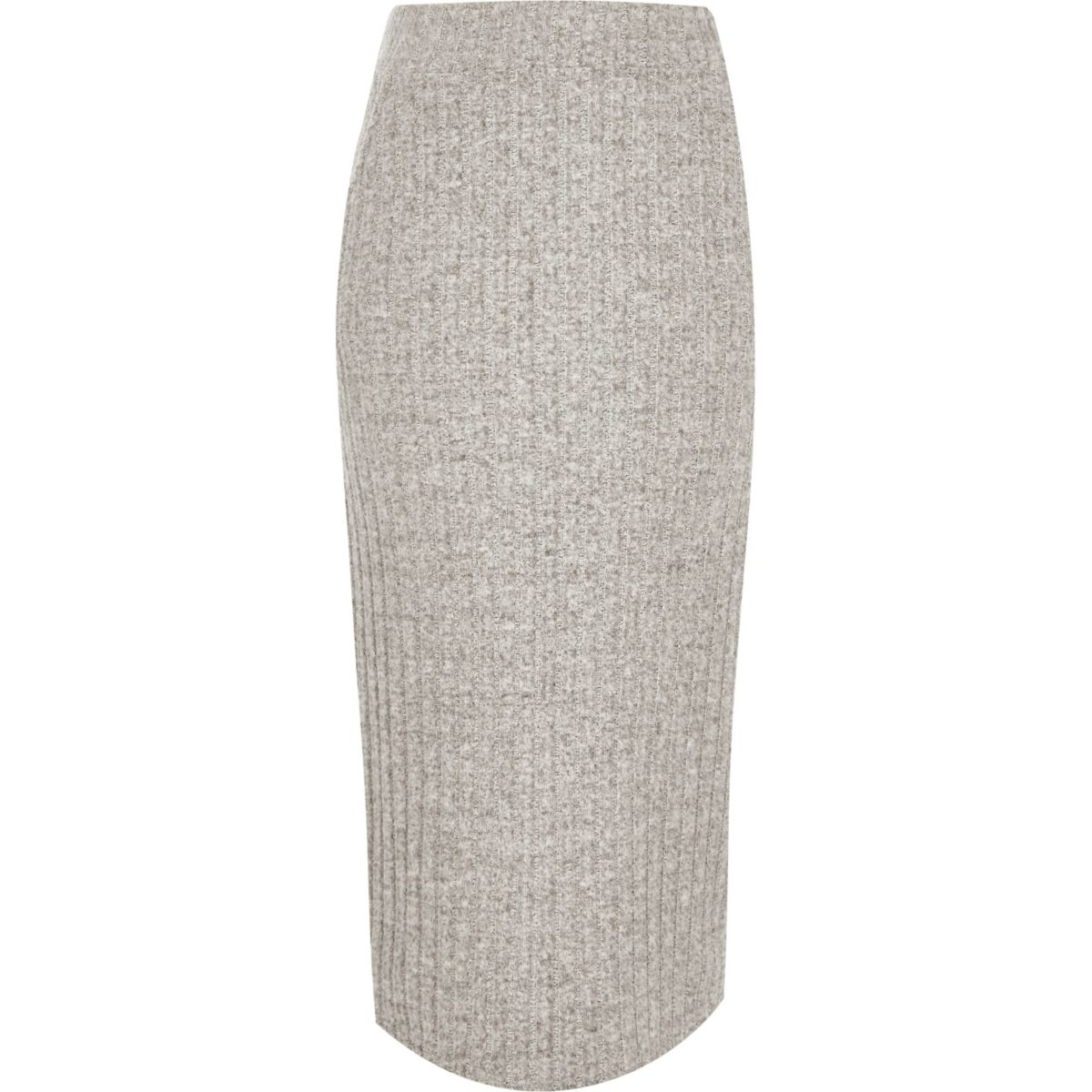 Grey ribbed knit midi skirt