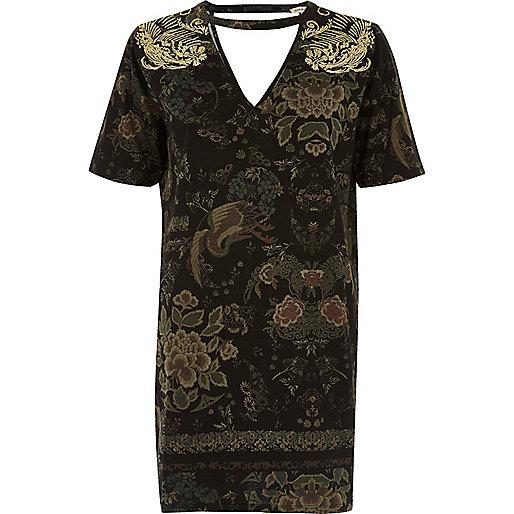 Metallic khaki embroidered oversized T-shirt