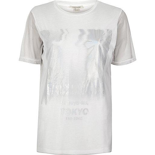 White metallic Tokyo print mesh T-shirt
