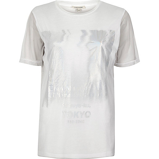 T-shirt blanc imprimé Tokyo métallisé