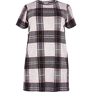 Plus pink check oversized T-shirt