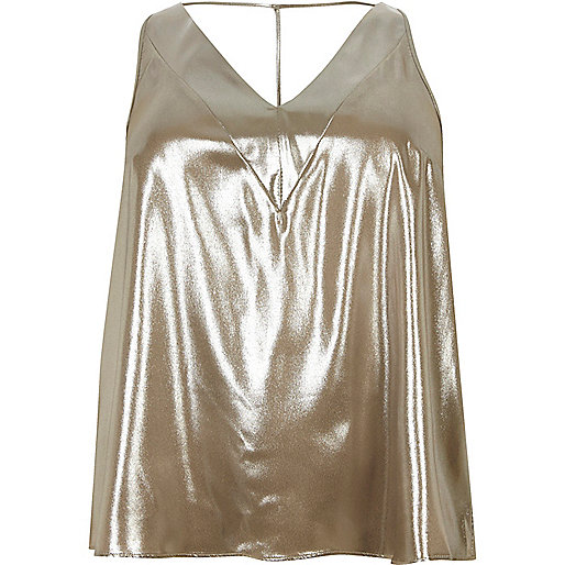 Plus gold T-bar cami top