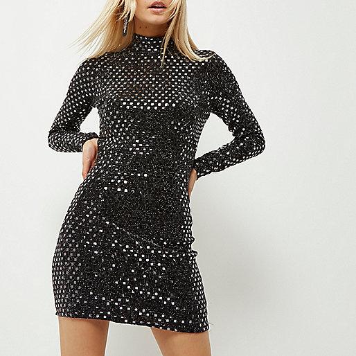 Petite black sequin cut-out bodycon dress