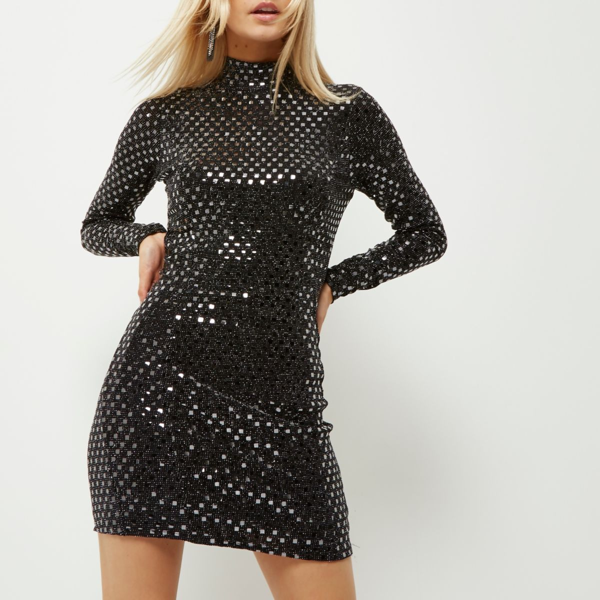 Petite black sequin cut-out bodycon dress